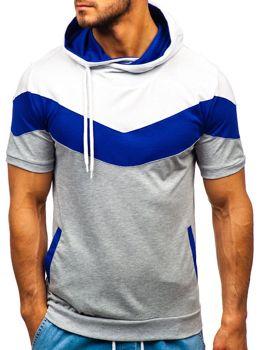 Мужская футболка с принтом и с капюшоном серая Bolf 9026