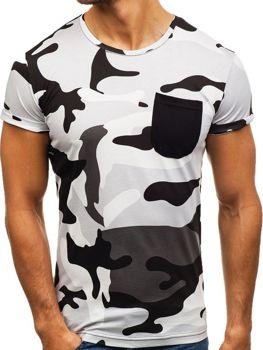 Мужская футболка с принтом камуфляж-серая Bolf 1026