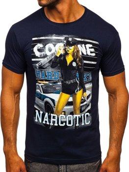 Мужская футболка с принтом темно-синяя Bolf 004
