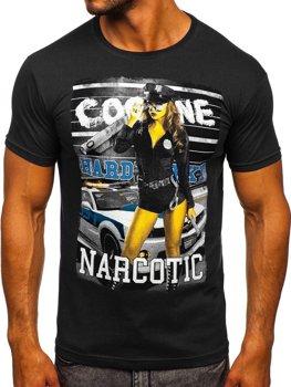 Мужская футболка с принтом черная Bolf 004