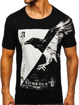 Мужская футболка с принтом черная Bolf 181210