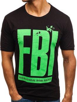 Мужская футболка с принтом черная Bolf 6295