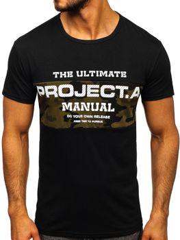 Мужская футболка с принтом черная Bolf SS10938
