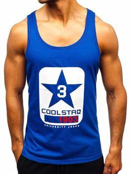 Мужская футболка tank top с принтом синяя Bolf 100766