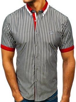 Мужская элегантная рубашка в клетку с коротким рукавом серая Bolf 4501