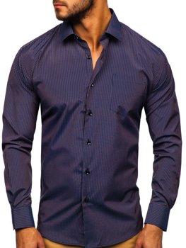 Мужская элегантная рубашка в полоску с длинным рукавом темно-сине-красная Bolf NDT9