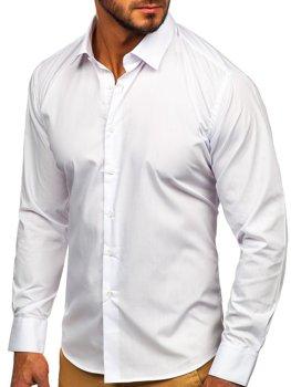 Мужская элегантная рубашка с длинным рукавом белая Bolf 0001