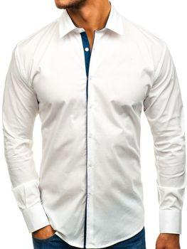 Мужская элегантная рубашка с длинным рукавом белая GM10