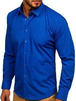 Мужская элегантная рубашка с длинным рукавом васильковая Bolf 0001