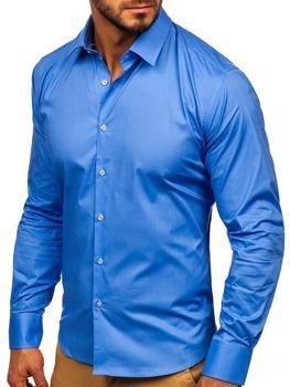 Мужская элегантная рубашка с длинным рукавом голубая Bolf TS50