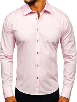 Мужская элегантная рубашка с длинным рукавом розовая Bolf 1703