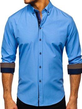 Мужская элегантная рубашка с длинным рукавом синяя Bolf 8840-1