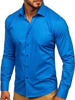Мужская элегантная рубашка с длинным рукавом синяя Bolf TS50