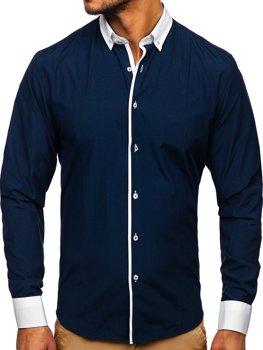 Мужская элегантная рубашка с длинным рукавом темно-синяя Bolf 2782