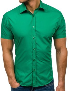 Мужская элегантная рубашка с коротким рукавом зеленая Bolf 7501