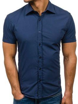 Мужская элегантная рубашка с коротким рукавом светло-синяя Bolf 7501