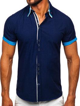 Мужская элегантная рубашка с коротким рукавом темно-синяя Bolf 2926