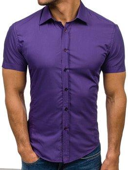 Мужская элегантная рубашка с коротким рукавом фиолетовая Bolf 7501