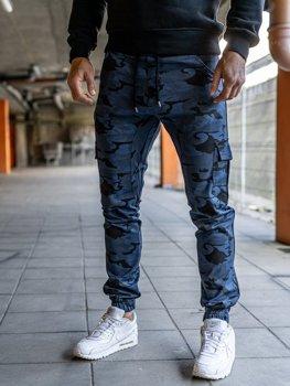 Мужские брюки джоггеры карго синие Bolf 0404