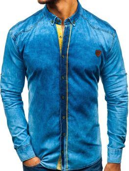 Мужские джинсовая рубашка с длинным рукавом синяя Bolf RL15