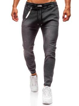 Мужские джинсовые брюки багги антрацитовые  Bolf 2040