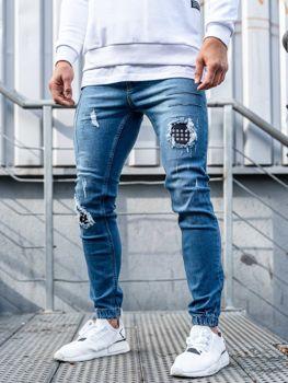 Мужские джинсовые брюки джоггеры синие Bolf 2036-1