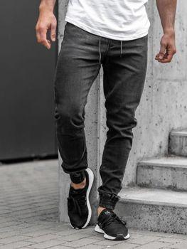 Мужские джинсовые брюки джоггеры черные Bolf  KA1095
