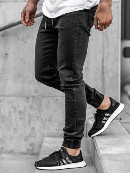 Мужские джинсовые брюки джоггеры черные Bolf  KA1105