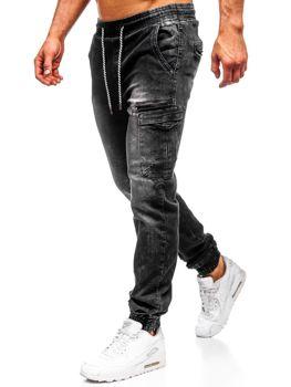 Мужские джинсовые брюки джоггеры черные Bolf  KA687