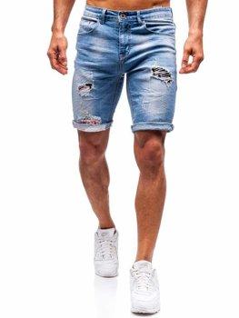 Мужские джинсовые шорты синие Bolf 3962