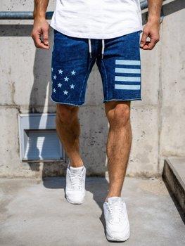 Мужские джинсовые шорты темно-синие Bolf EX02