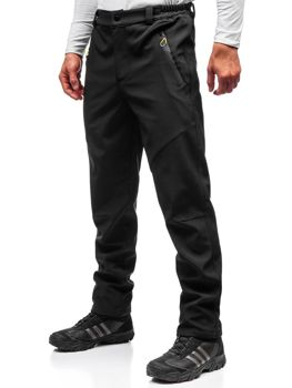 Мужские спортивные брюки софтшелл черно-желтые Bolf 5454
