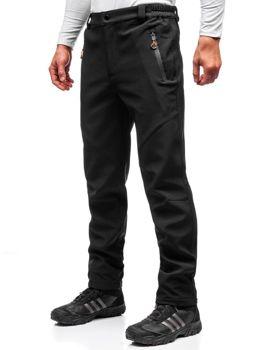 Мужские спортивные брюки софтшелл черно-оранжевые Bolf 5454