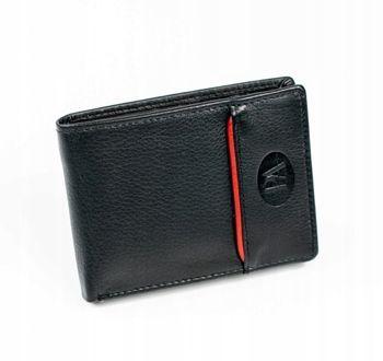 Мужской кожаный кошелек черный 875