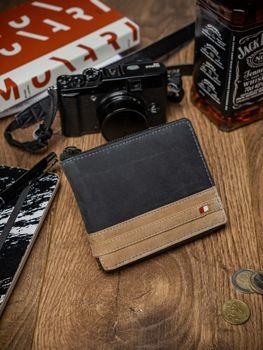 Мужской кошелек кожаный черный 2040