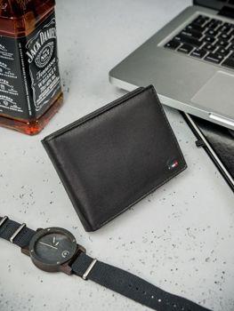 Мужской кошелек кожаный черный 3077