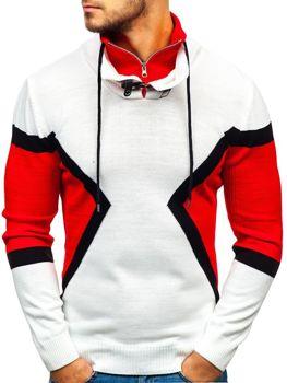 Мужской свитер бело-красный Bolf 1011