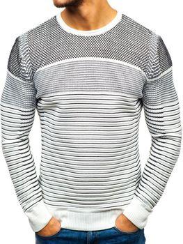 Мужской свитер бело-черный Bolf 1015