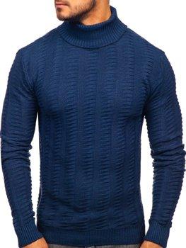 Мужской свитер гольф синий Bolf 314