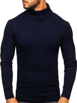 Мужской свитер гольф темно-синий Bolf 323