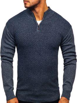 Мужской свитер на застежке темно-синий Bolf 8255