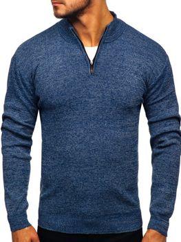 Мужской свитер на застежке темно-синий Bolf 8260