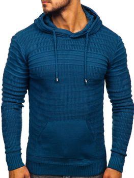 Мужской свитер с капюшоном синий Bolf 7003