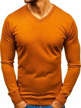 Мужской свитер с v-образным вырезом кэмел Bolf 2200