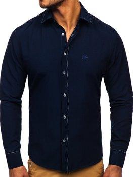 Рубашка мужская BOLF 4719 темно-синяя