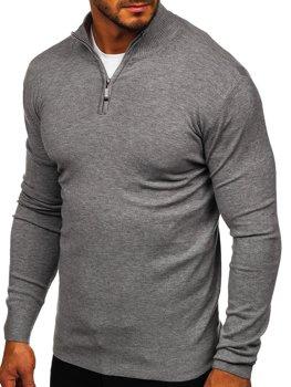 Серый мужской свитер с высоким воротником стойка Bolf YY08