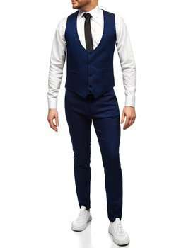 Синий комплект мужской жилет и брюки Bolf 0019