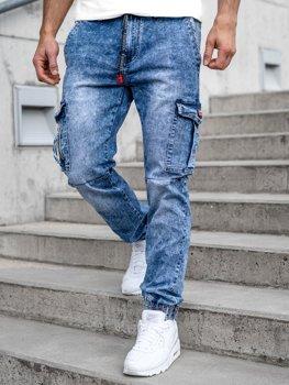 Темно-синие мужские джинсовые брюки джоггеры-карго Bolf T350