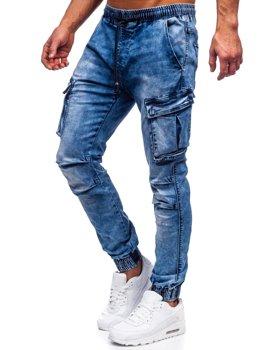 Темно-синие мужские джинсовые джоггеры-карго Bolf TF050