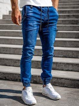 Темно-синие мужские джинсовые джоггеры Bolf KA816